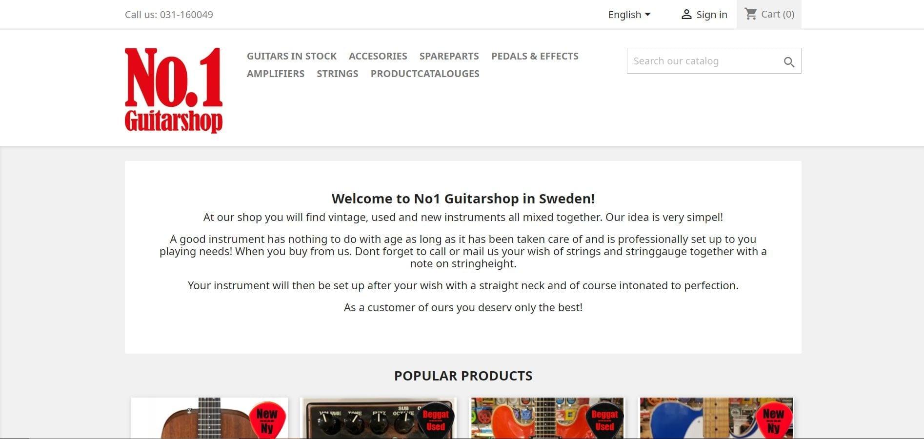 No1GuitarShop website landing page